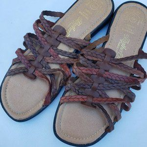 Leather Braided Slide On Slip On Sandals Size 10W
